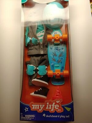 """My Life As Skateboard Play Set 18/"""" Boy Outfit New Fits American Girl Logan"""