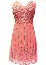 New Coral 1920's Gatsby fully embellished shift dress sizes 18