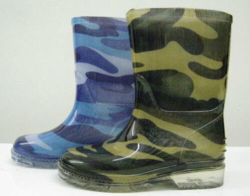 X1R124 Boys Spot On Camouflage Pull On Wellington Boots Green /& Blue Camo