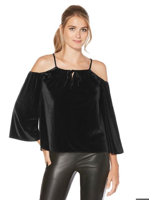 d4e02ca74b9aa0 Laundry Shelli Segal Womens Top Cold Shoulder Medium Black Velvet ...