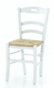 Dettagli su SEDIA SHABBY CHIC in FAGGIO laccata BIANCA con seduta in PAGLIA Lotto 2 sedie