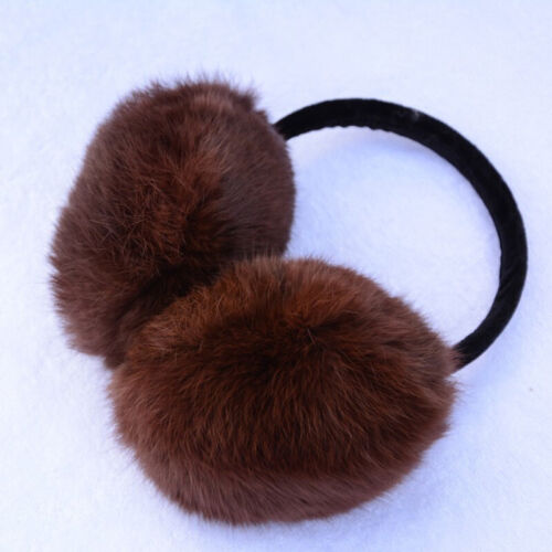 Real Rabbit Fur Fluffy Ear Muffs Unisex Winter Warmer Earmuff Foldable Genuine