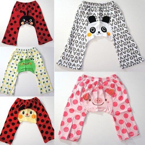 Toddler Boys Girls Polka Dot Stars Animal Face Patterned Cartoon Leggings Pants