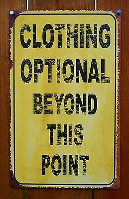 Clothing Optional Beyond This Point Tin Metal Sign College Humor Pool Party  F72
