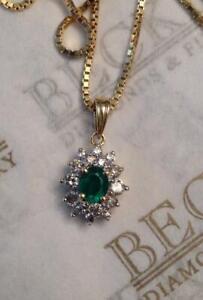 Estate-18k-Solid-Yellow-Gold-Oval-Emerald-and-16-Diamond-Halo-Pendant-Hallmark