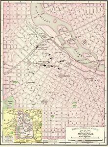 1898 Antique MINNEAPOLIS Map Vintage Map of Minneapolis Minnesota ...