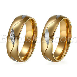 Couples-Men-039-s-Women-039-s-Classic-Gold-Stainless-Steel-Ring-Comfort-Fit-Wedding-Band