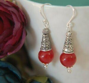 Red AGATE Gemstone & STERLING SILVER Earrings
