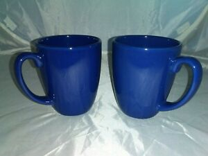 2-CORNING-CORELLE-STONEWARE-DARK-BLUE-12-OZ-CLASSIC-COFFEE-MUGS-CUPS