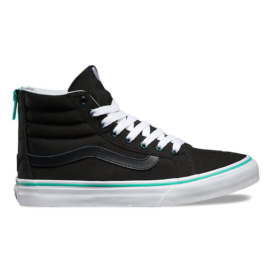 Vans Zapatos De Cremallera Negro Sk8 Sk8 Sk8 Hi Slim Turquesa Cremallera Iridiscente Ojales Vault Lady  barato y de moda