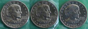 1980-P-Et-D-S-Susan-B-Anthony-Dollar-Bu-Pieces-Nous-Mint-Violoncelles-Trois-Sba