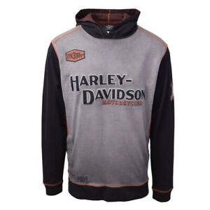 Harley-Davidson-Men-039-s-Grey-Iron-Block-Two-Tone-L-S-Pullover-Hoodie-S03
