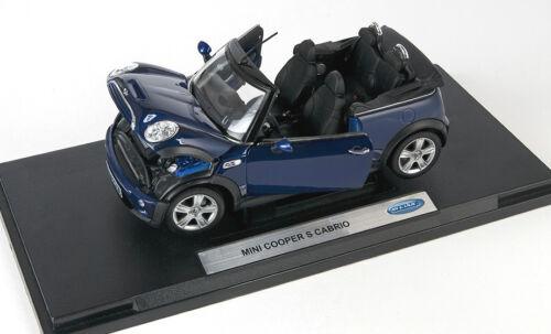 BLITZ VERSAND Mini Cooper S Cabrio dunkel blau Welly Modell Auto 1:18 NEU /& OVP