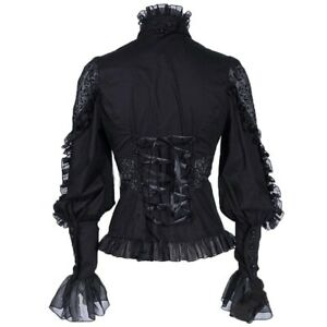 Retro-Women-Gothic-Shirt-Blouse-Tops-Lace-Ruffle-Steampunk-Victorian-Puff-Sleeve