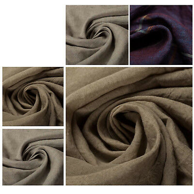 Cotton Linen Blend Quality Vintage Solbiati Plain Fabric Dress Upholstery Crafts