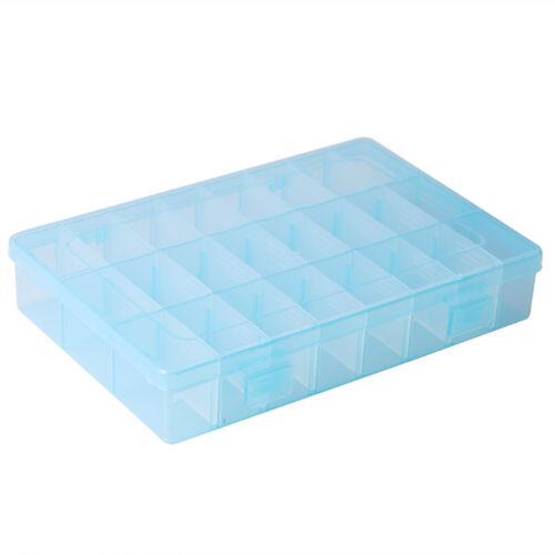 10//15//24//28Slots Adjustable Plastic Storage Box Jewelry Beads Organizer Case