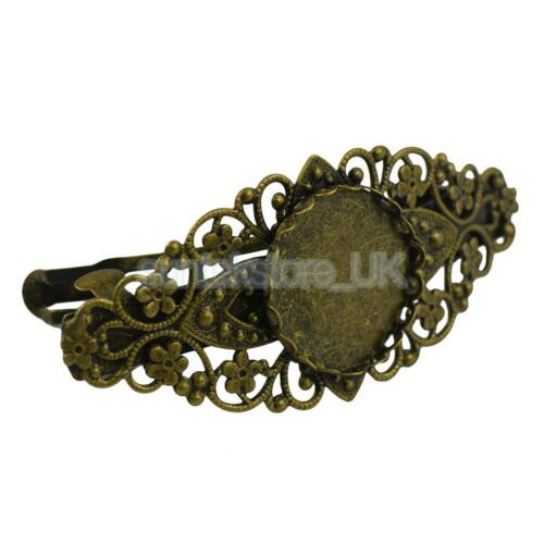 2pcs Antique Floral French Clip Barrette Cabochon Blank Setting Base Finding