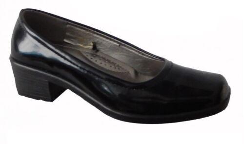 DR LIGHTFOOT WOMENS BLACK PATENT SLIP ON WORK NURSING SCHOOL SHOES SIZES 5,6