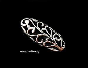 10 Tibetan Antiqued Silver Hollow Filigree Cutout Long Oval Spacer Metal Beads