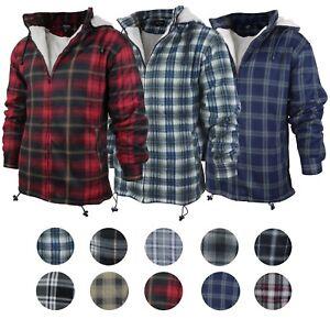 Men-039-s-Heavyweight-Flannel-Zip-Up-Fleece-Lined-Plaid-Sherpa-Hoodie-Jacket