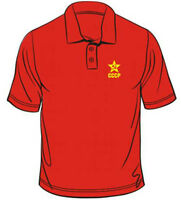 Russian Hammer & Sickle CCCP Badge Polo Mens Loose Fit Cotton T-Shirt