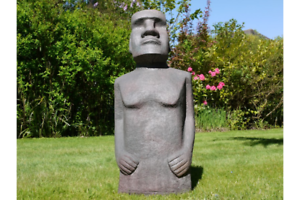 110cm-Tall-Easter-Island-Moai-Man-MGO-Garden-Sculpture-Stone-Effect-Mottled-Grey