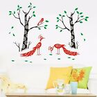 Jungle Tree Peafowls Bird Wall Vinyl Decals Wall Sticker Removable Mural Art DIY