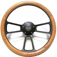 1956 Chevy Pick-up Trucks Real Oak Steering Wheel & Black Billet Adapter