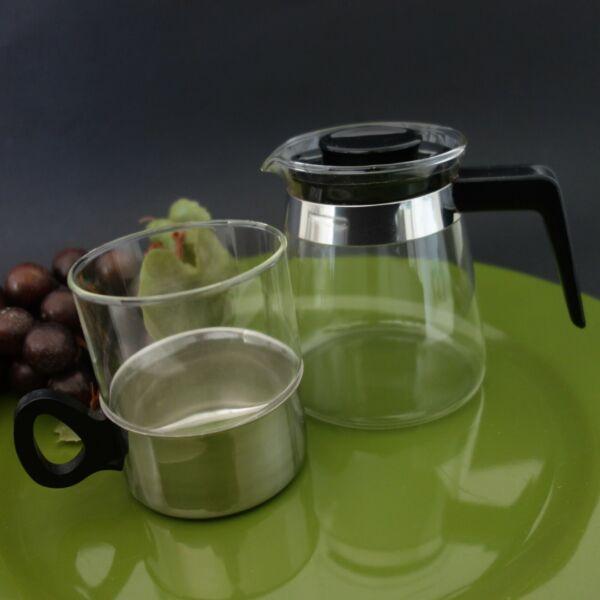 1 Melitta Glas Teekanne 1 Teeglas Im Halter Jenaer Glas W. Germany 60er 70er Reisen