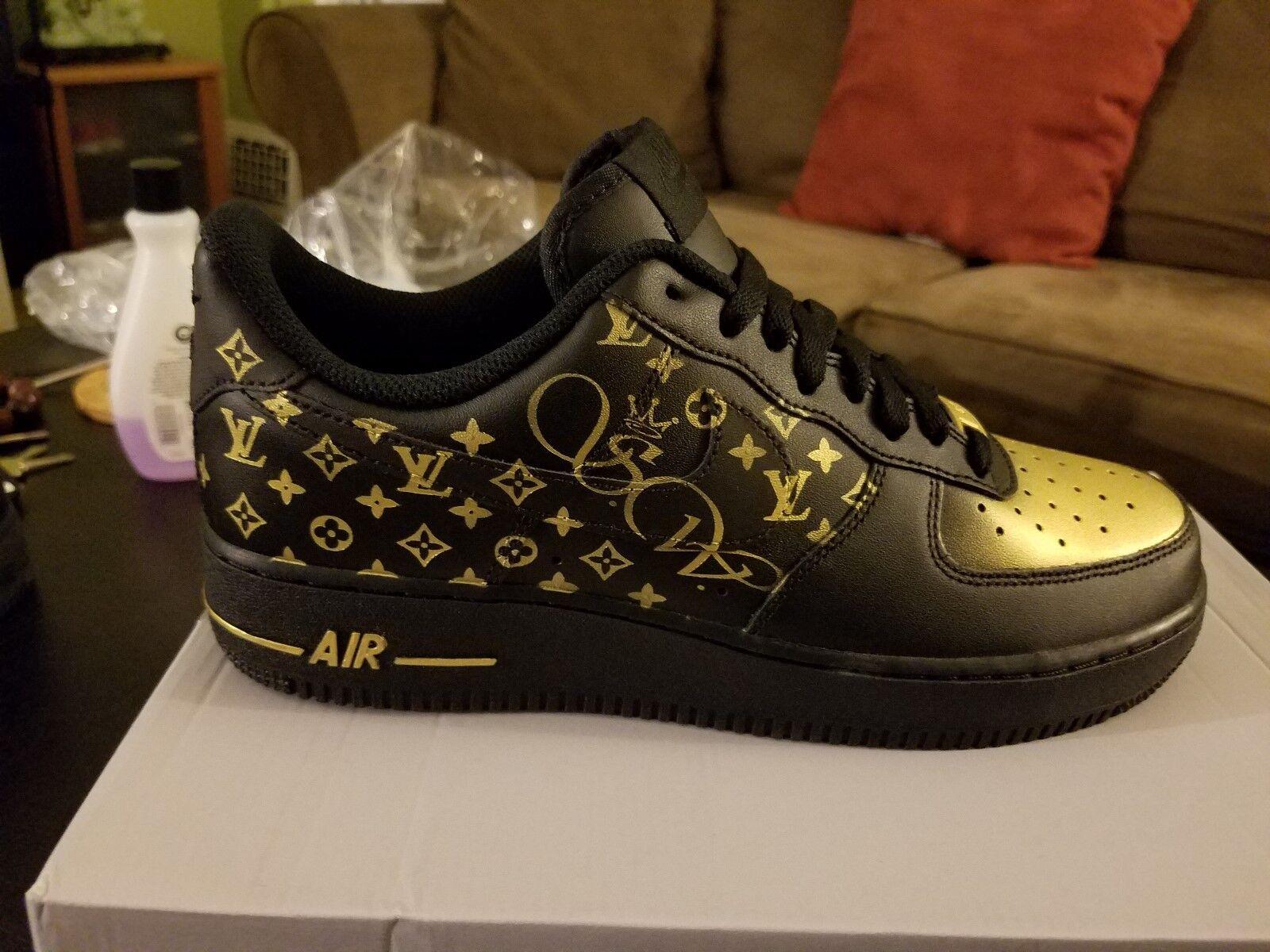 Air Force 1 Negro oro Personalizado 1 Par