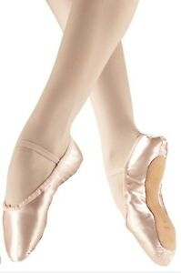 8c97013a2e37 pink satin wide fit full suede soled ballet shoes with elastics (loose)