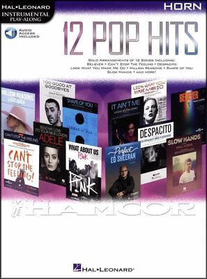12 Pop Hits Instrumental Play-along For French Horn Sheet Music Book/audio Adele Brass