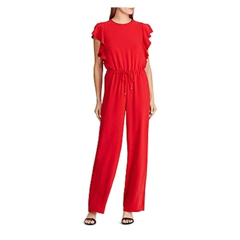 Lauren Ralph Lauren Womens Awensha Red Ruffled Sleeveless Jumpsuit 8 BHFO 2118