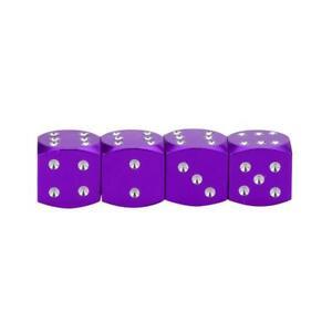 4-bouchons-de-valve-en-aluminium-forme-de-de-Couleur-violet-Auto-Moto-Velo