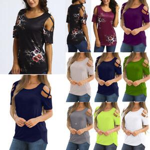Mujer-Casual-camisa-manga-corta-blusa-HOMBROS-DESCUBIERTOS-Holgado-camiseta
