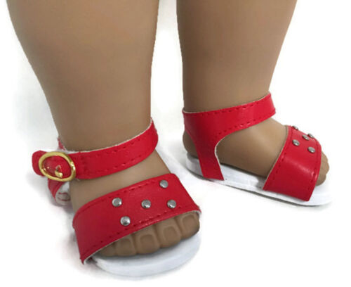 Red Sandal with Silver Studs Shoes for 18 inch American Girl Doll Clothes