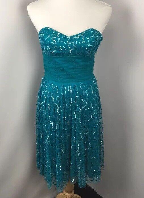 Vtg schwarz Tag Betsey Johnson Evening Aqua Sequin Mesh Bubble Sweetheart Dress 6
