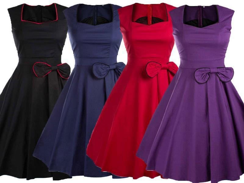 WHOLESALE BULK LOT 10 MIXED COLOUR SIZE 50'S Vintage Retro Swing Dress dr167
