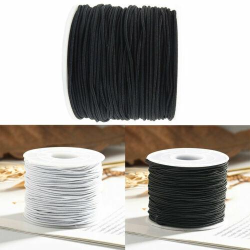 Schwarz weiß Runde Nylon elastische Schnüre Gummi Innen dehnbar Faden Seil 3mm
