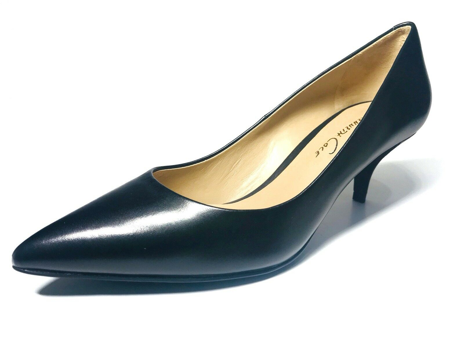 Kenneth Cole Kitten High Heels Classic Pumps BLACK LEATHER POINTED TOE 2  Heel