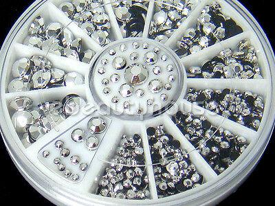 5 Sizes 800pcs Nail Art Decoration 3D Glitter Silver Rhinestones+Wheel #022A