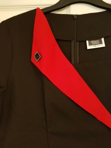 FEATURED RED LAPEL TUNIC BRAND NEW SIMON JERSEY UK SIZE 12