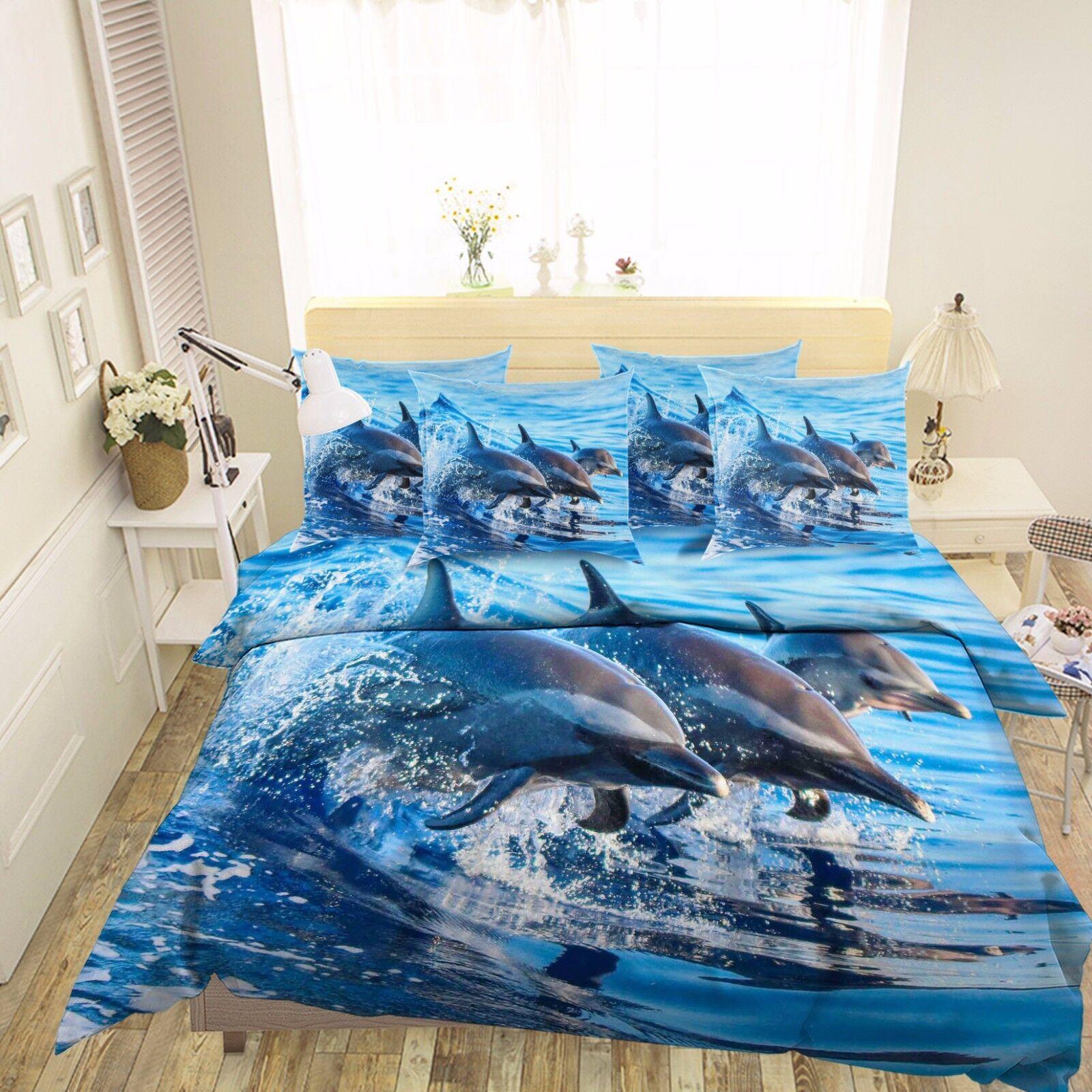 3D Aquarium Dolphin Show 5 Bett Pillowcases Quilt Duvet Startseite Set Single Königin CA