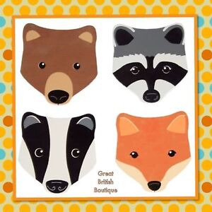 Super-Cute-Animal-Coasters-Set-of-four-Bear-Racoon-Badger-amp-Fox-Sass-amp-Belle