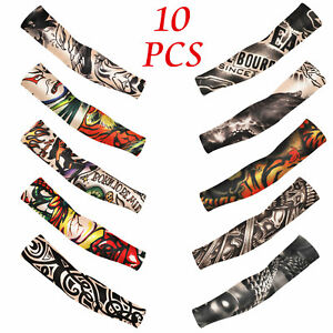Tattoo-Cooling-Arm-Sleeves-Cover-Basketball-Golf-Sport-UV-Sun-Protection-10-pcs