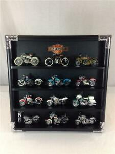 Lot-of-12-Franklin-Mint-Harley-Davidson-Motorcycles-With-Display-Case