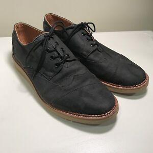 49240965337 TOMS Classic Brogue Mens Sz 10-1 2 Black Cotton Twill Oxford Shoes ...