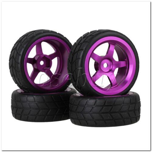 Square Rubber Tyre 4x RC1:10 On Road Car 5 Spoke Purple Aluminium Wheel Rim
