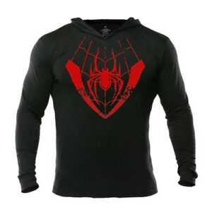 9d4ebfbe90e Details about Miles Morales Spider Man Hoodie Into The Spider Verse Men s  Workout Pullover