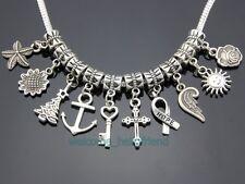 100 Tibetan Silver Cross Anchor Mixed Dangle Charms Fit European Bracelet ZY018